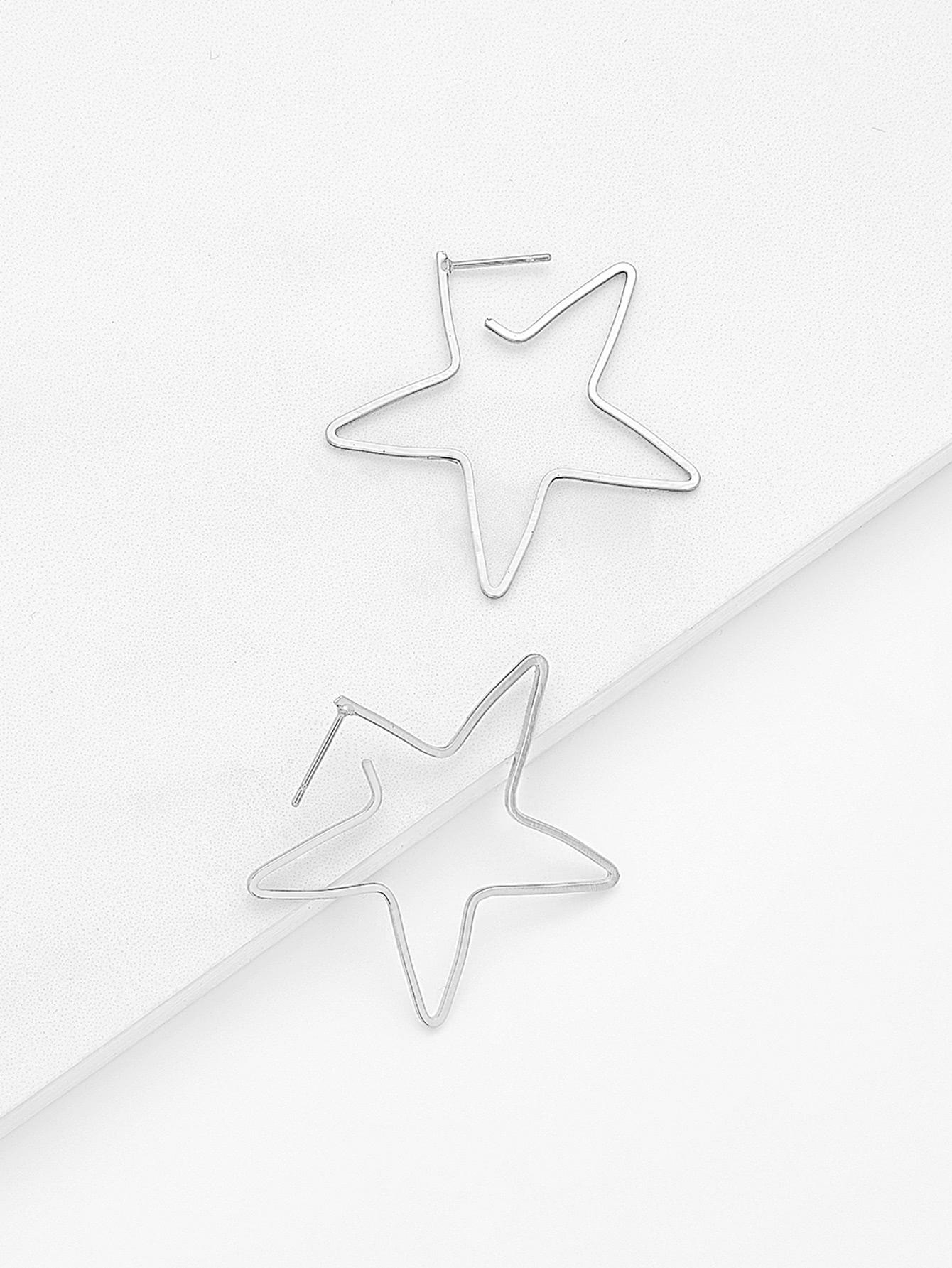 Hollow Star Design Drop Earrings two tone hollow face design drop earrings