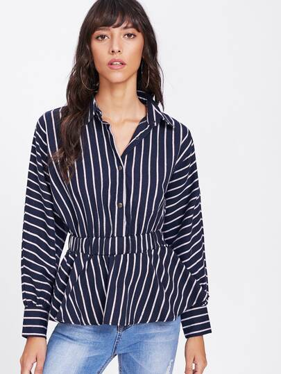Latern Sleeve Contrast Vertical Striped Shirt