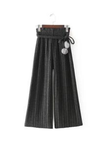 Self Tie Pleated Pants With Pom Pom