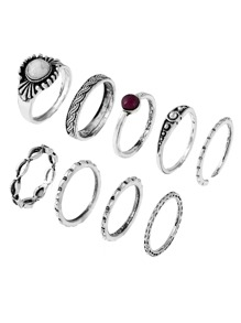 Plaited Insert Engraved Ring Pack 9pcs