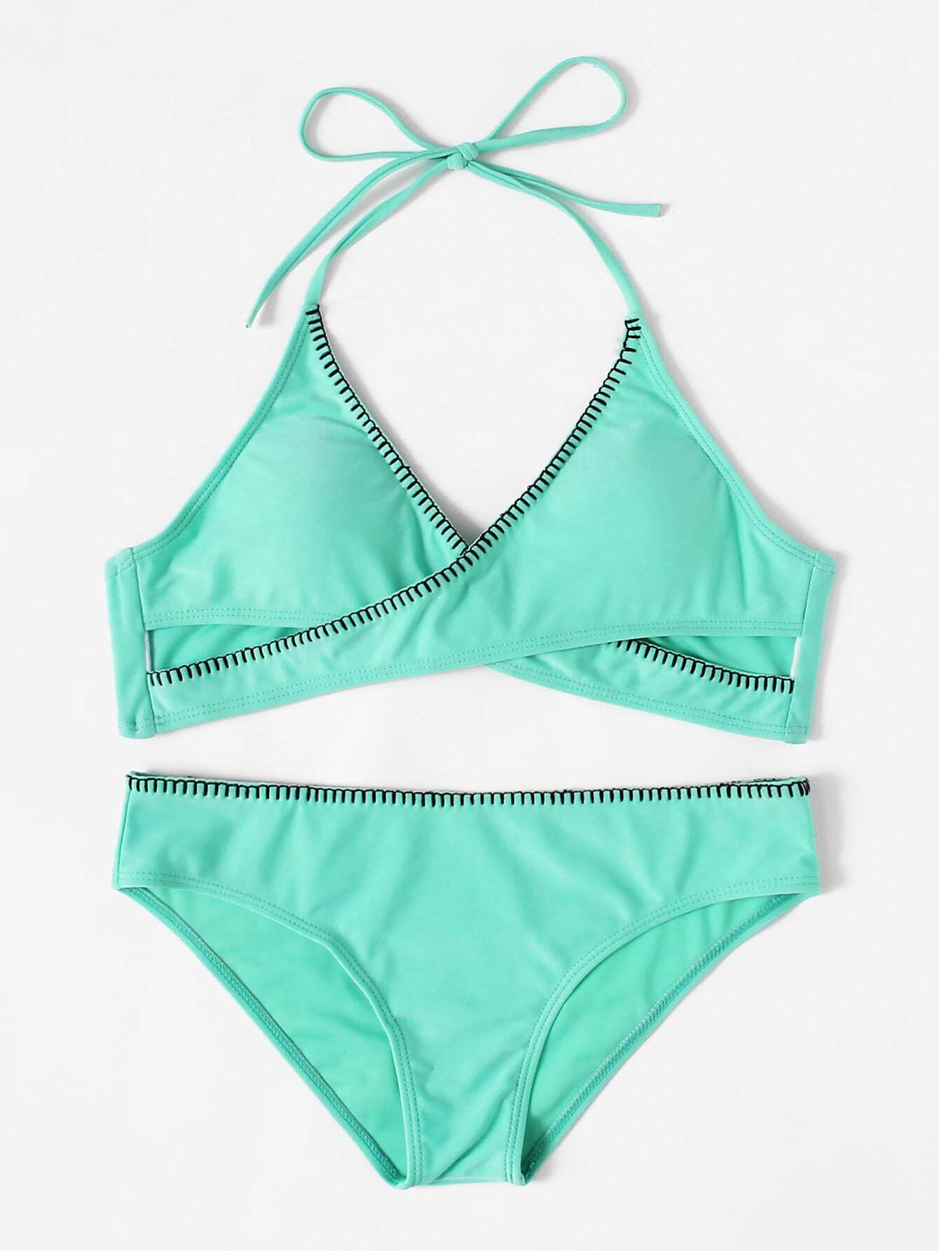 Knot Back Wrap Halter Bikini Set knot back wrap halter bikini set