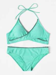 Knot Back Wrap Halter Bikini Set