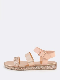 Mixed Glitter Bands Ankle Strap Sandals ROSE GOLD