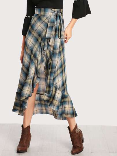 Madras Plaid Ruffle Hem Wrap Skirt
