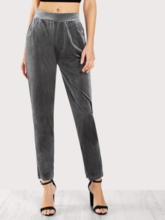 Mid Rise Front Pocket Velvet Pants GREY