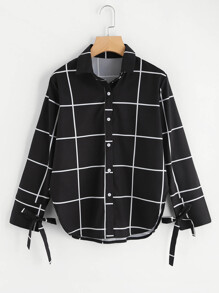 Checked Tie Detail Curved Hem Shirt