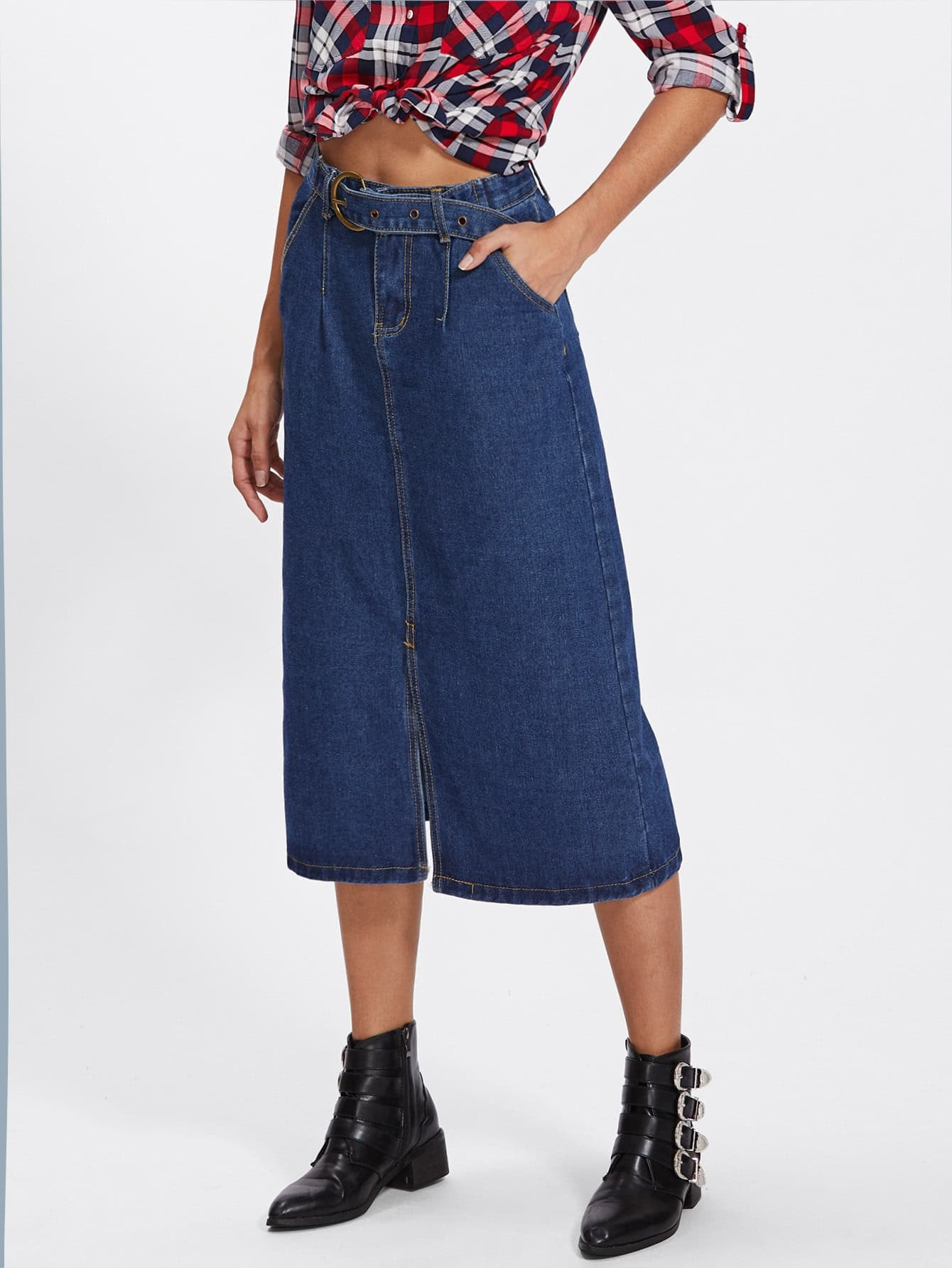 Split Front Denim Skirt