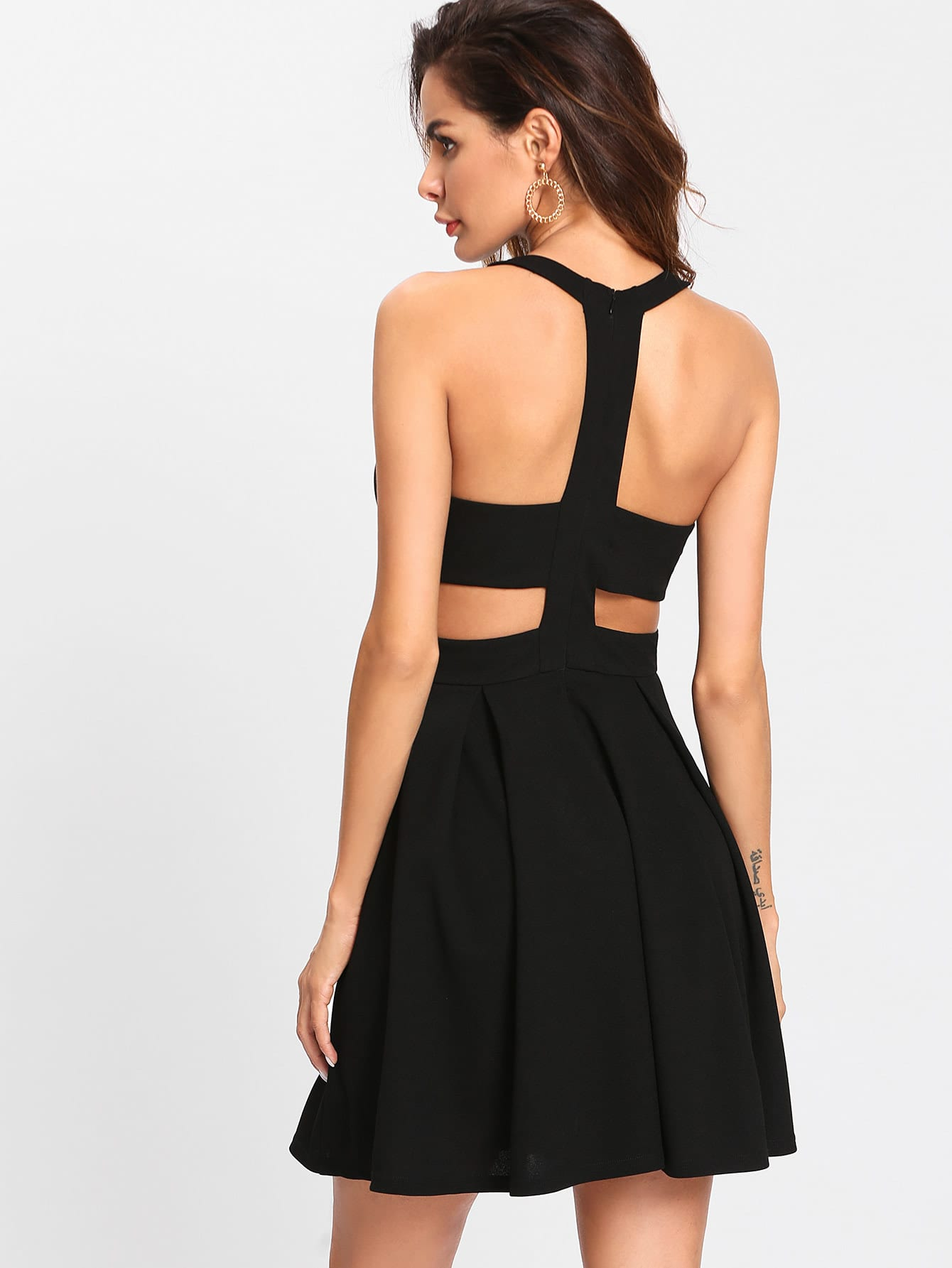 Cut Out Y-Back Box Pleated Dress cut out back plunging kimono dress