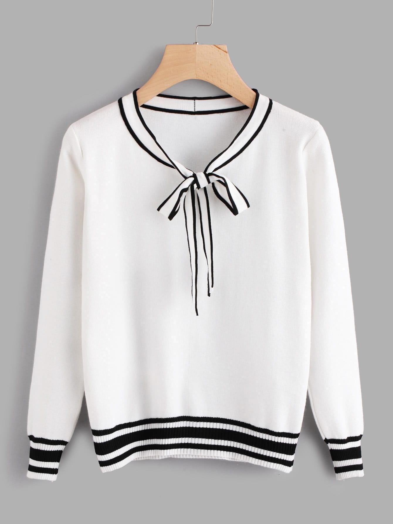 Contrast Stripe Trim Bow Tie Neck Jumper white stripe v neck simple jumper