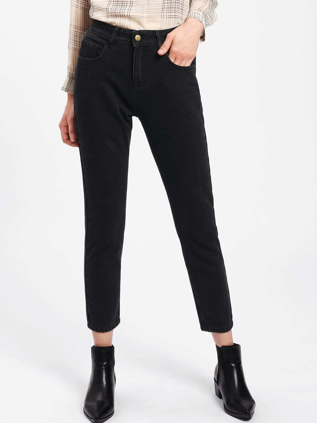 Pocket Patched Crop Jeans patched embroidered jeans