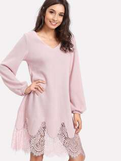 Lantern Sleeve Lace Hem Dress