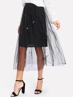 Pearl Detail Tulle Overlay Skirt