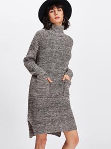 Rolled Neck Slit Side Marled Sweater Dress