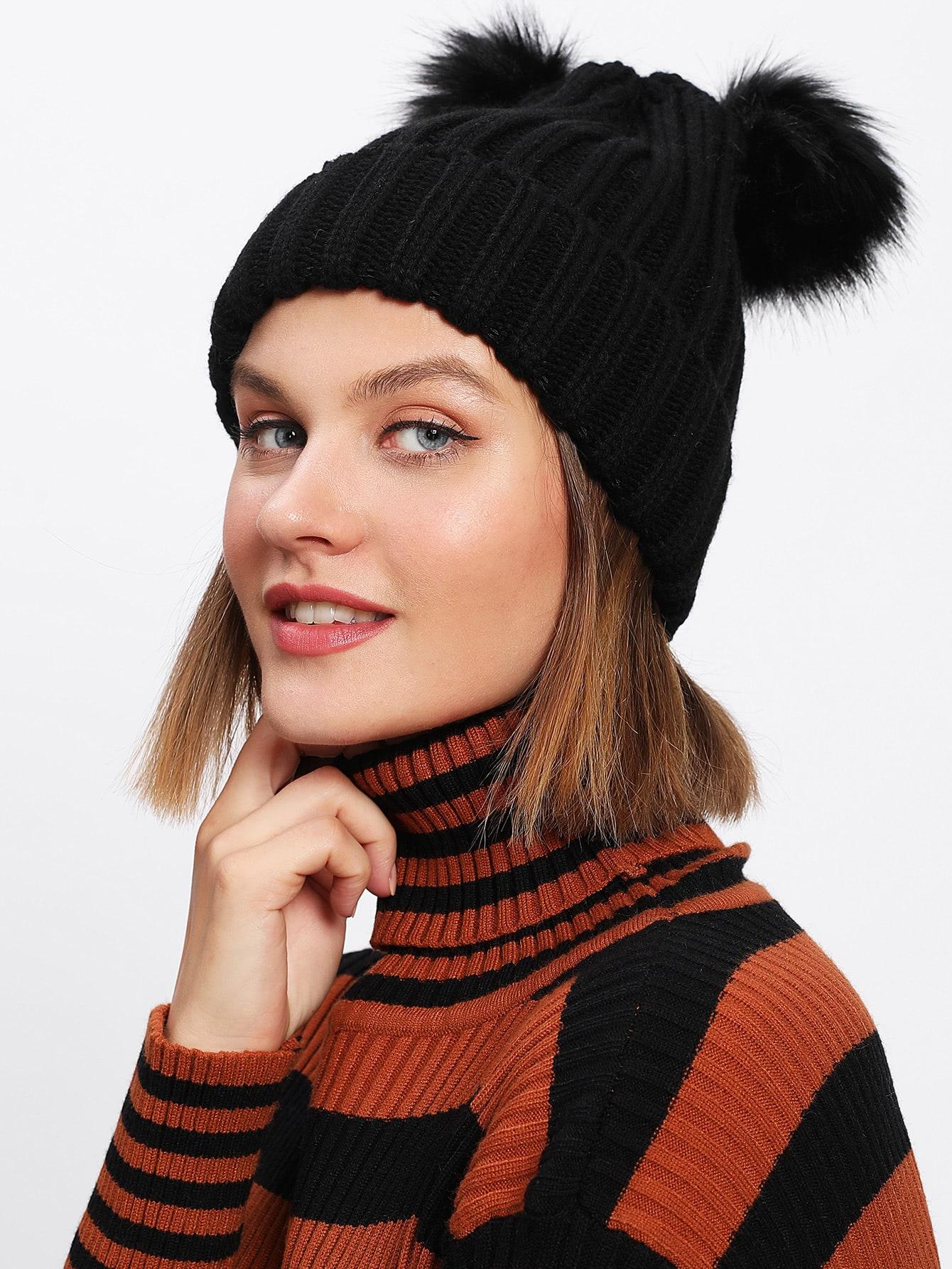 chapeau bonnet avec pompon french romwe. Black Bedroom Furniture Sets. Home Design Ideas