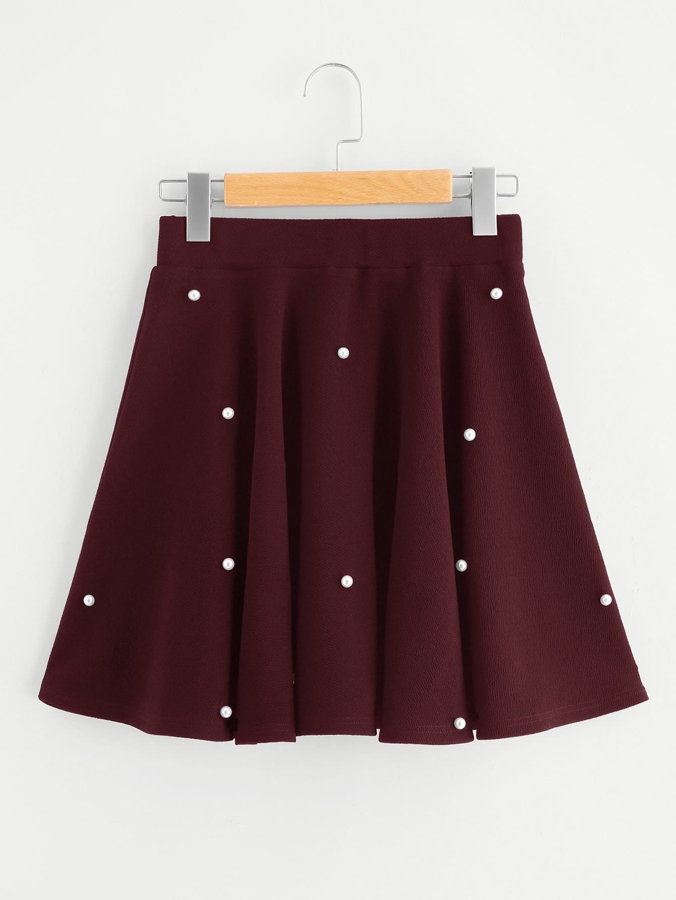 Pearl Embellished Textured Swing Skirt ornate print textured skirt