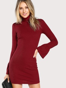 Trumpet Sleeve Form Fit Dress