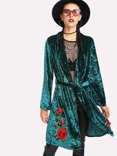 Flower Applique Crushed Velvet Kimono