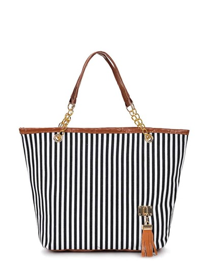 Contrast Stripe Tassel Detail Tote Bag