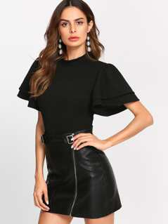 Mock Neck Layered Flutter Sleeve Bodysuit