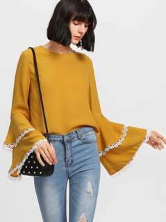 Contrast Lace Trim Layered Sleeve Top