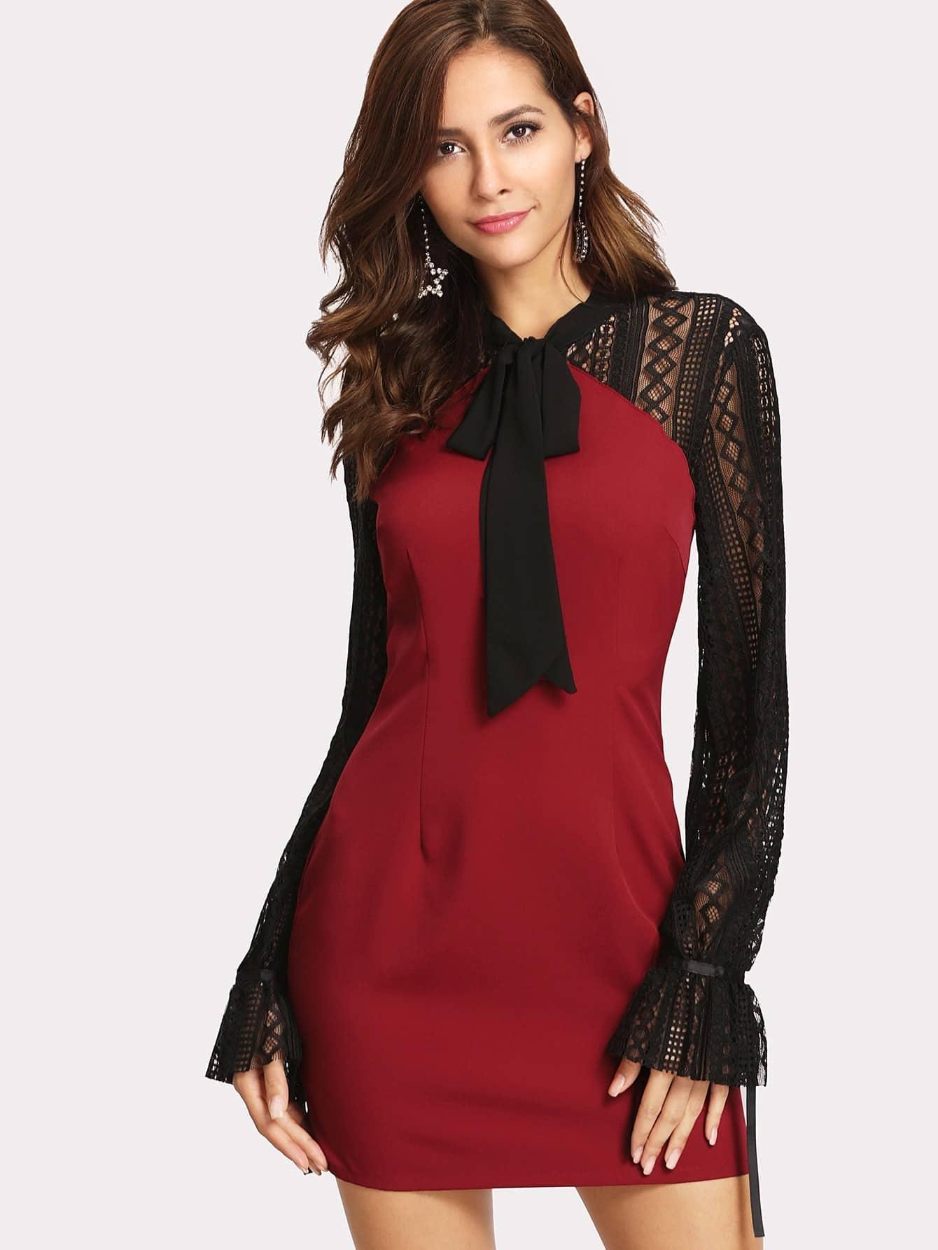 Купить Модное платье с разрезом и кружевной вставкой, Giulia, SheIn