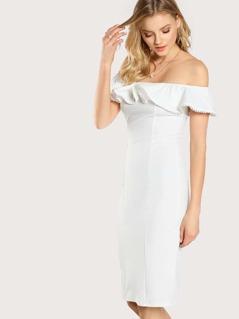 Beading Flounce Bardot Form Fitting Dress