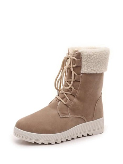 Lace Up Round Toe Scrub Boots