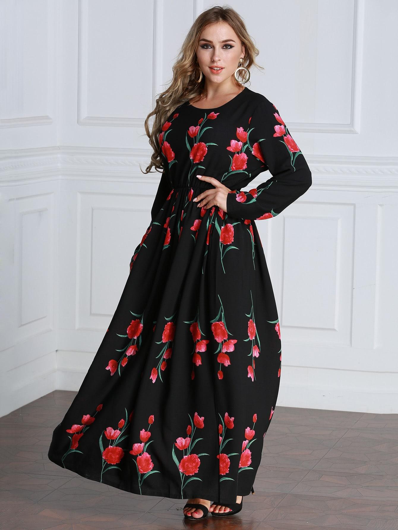 Plus Floral Print Random Maxi Dress
