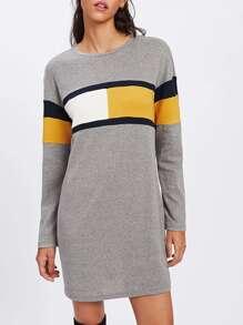 T-Shirt Kleid mit Farbblock