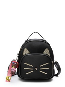 Cartoon Embroidered Backpack With Charm