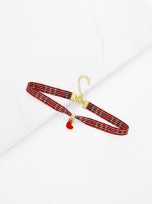 Christmas Sock Detail Gingham Print Choker