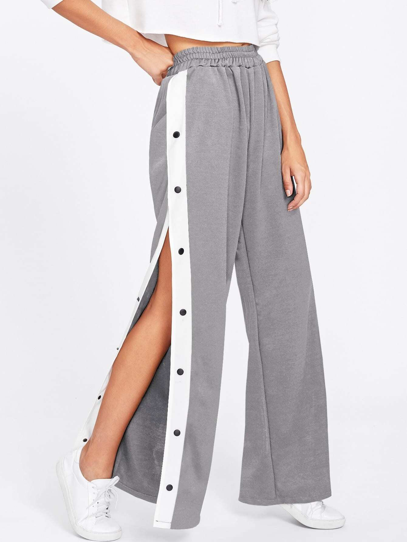 Tape Button Side Wide Leg Pants bow tie side wide leg pants