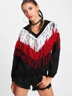 Layered Chevron Fringe Detail Sweatshirt