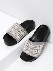 Faux Pearl Decorated Flat Sandals