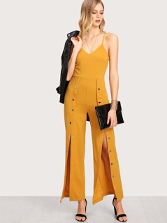 Snap Button Solid Cami Jumpsuit