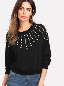 Sweat-shirt manche raglan avec des perles