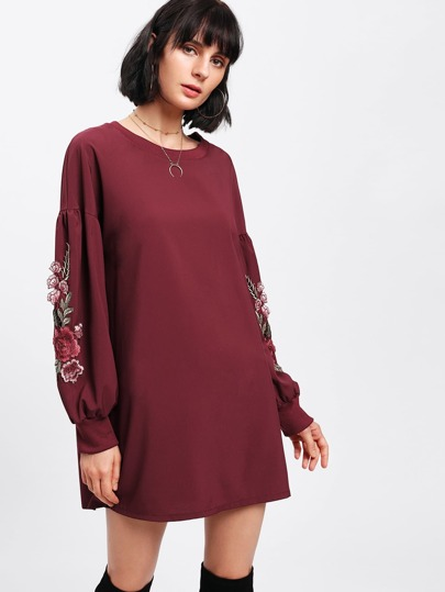 Rose Embroidered Applique Lantern Sleeve Dress