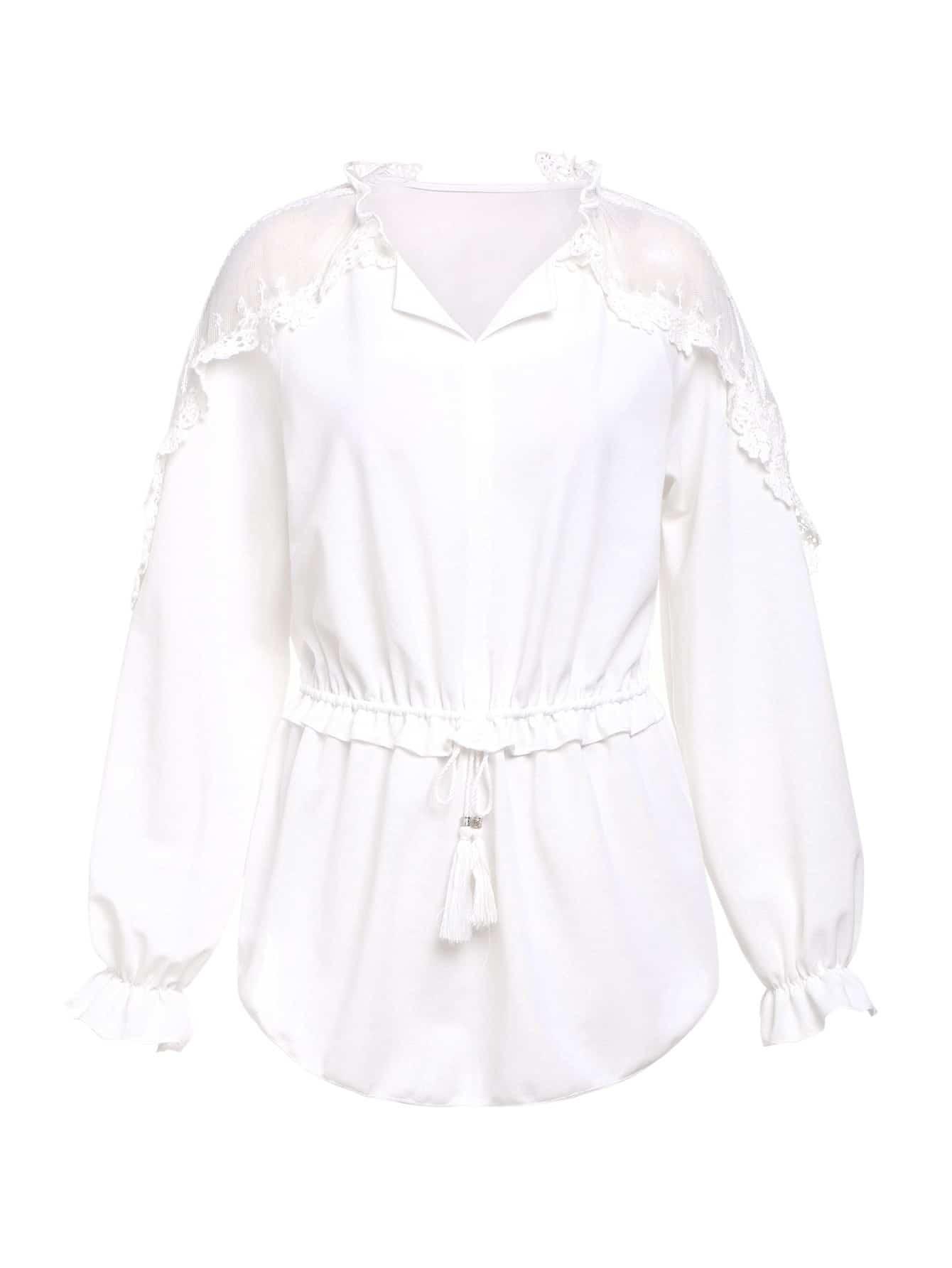 Lace Applique Shoulder Tassel Tied Waist Top tassel tied shirred waist dress