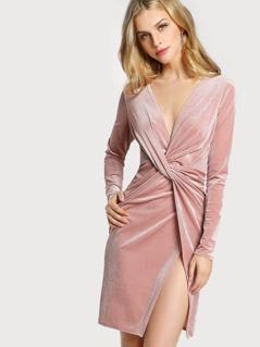 Velvet Quarter Sleeve Knot Front Dress LIGHT MAUVE