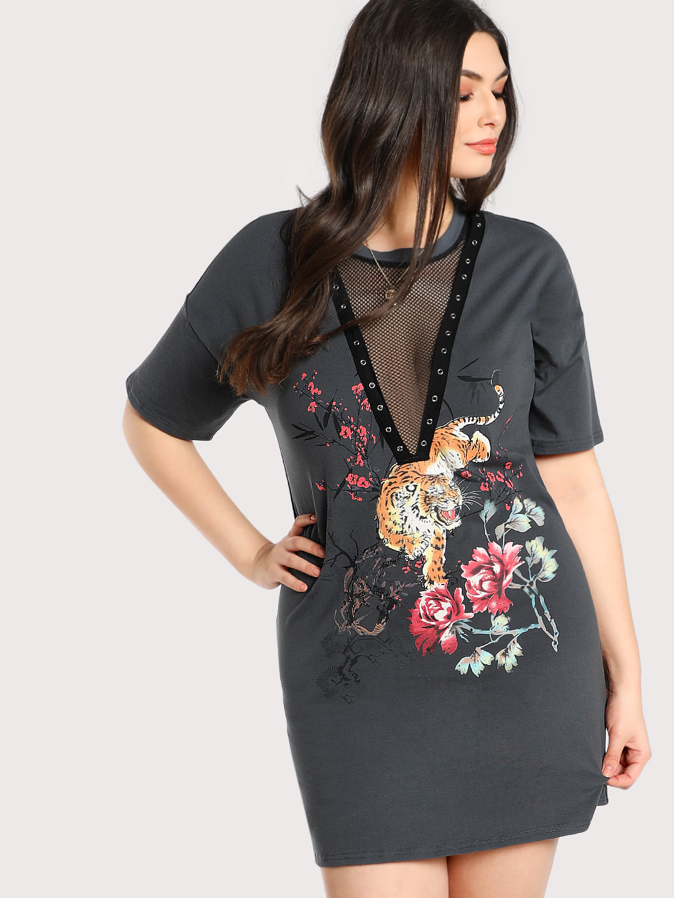 Grommet Detail Mesh V-Neck Graphic Dress metal grommet detail drop shoulder sweatshirt dress