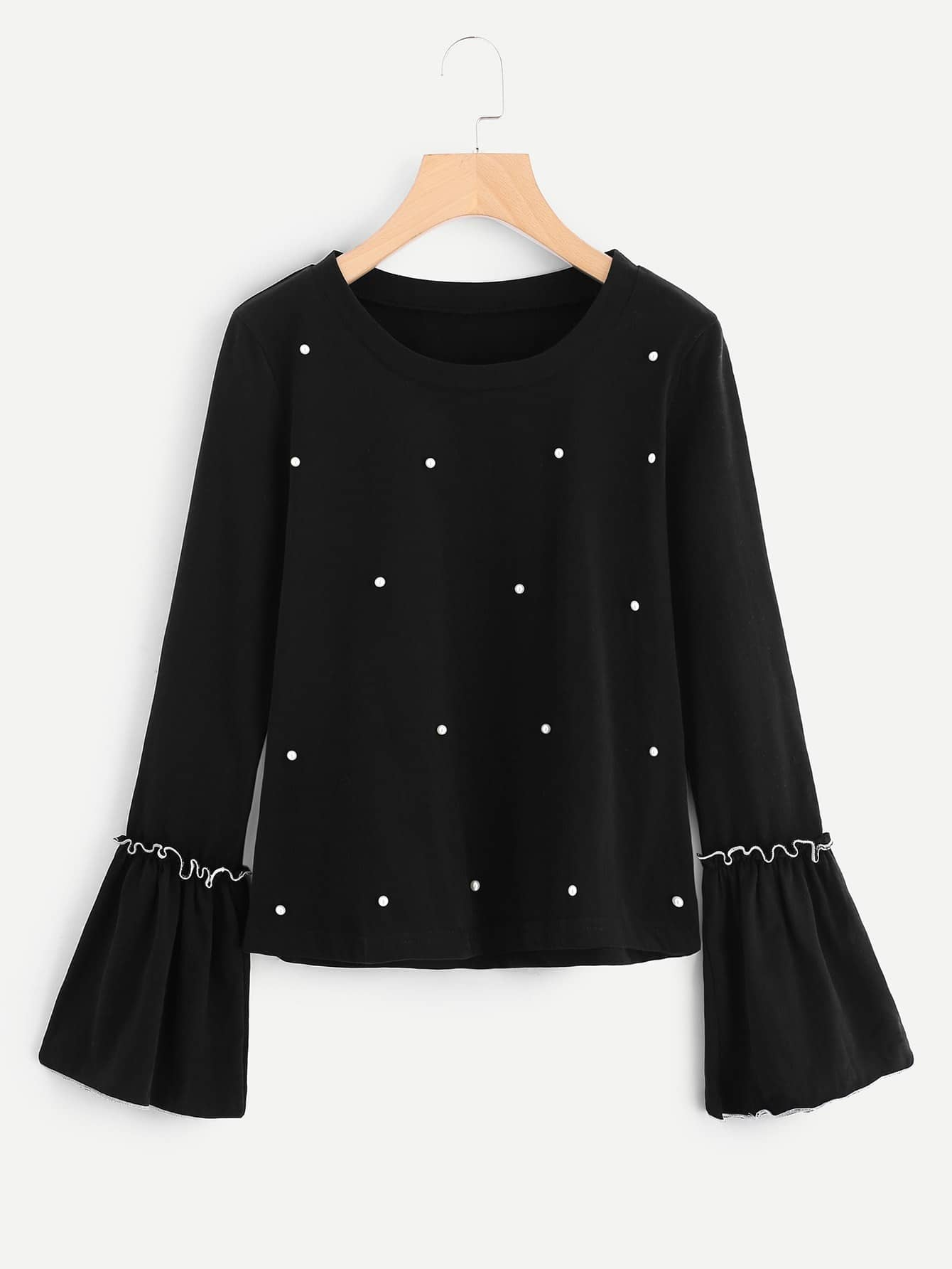 Pearl Beading Frilled Sleeve Top pearl beading layered sleeve top