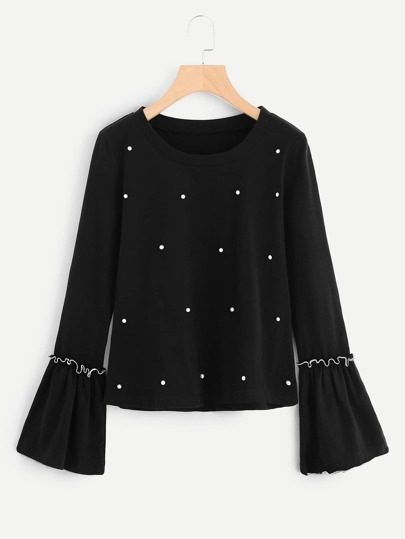 Pearl Beading Frilled Sleeve Top