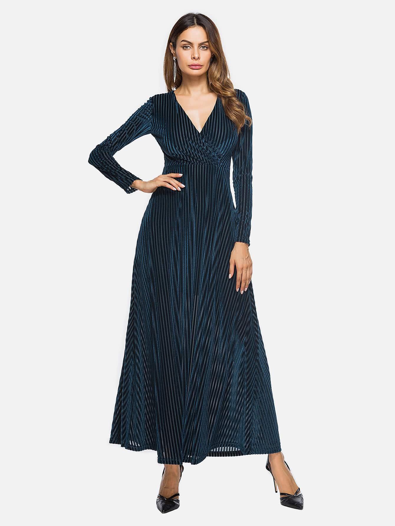 Deep V Neckline Surplice Velvet Maxi Dress  цена и фото