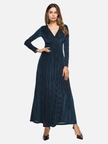 Deep V Neckline Surplice Velvet Maxi Dress