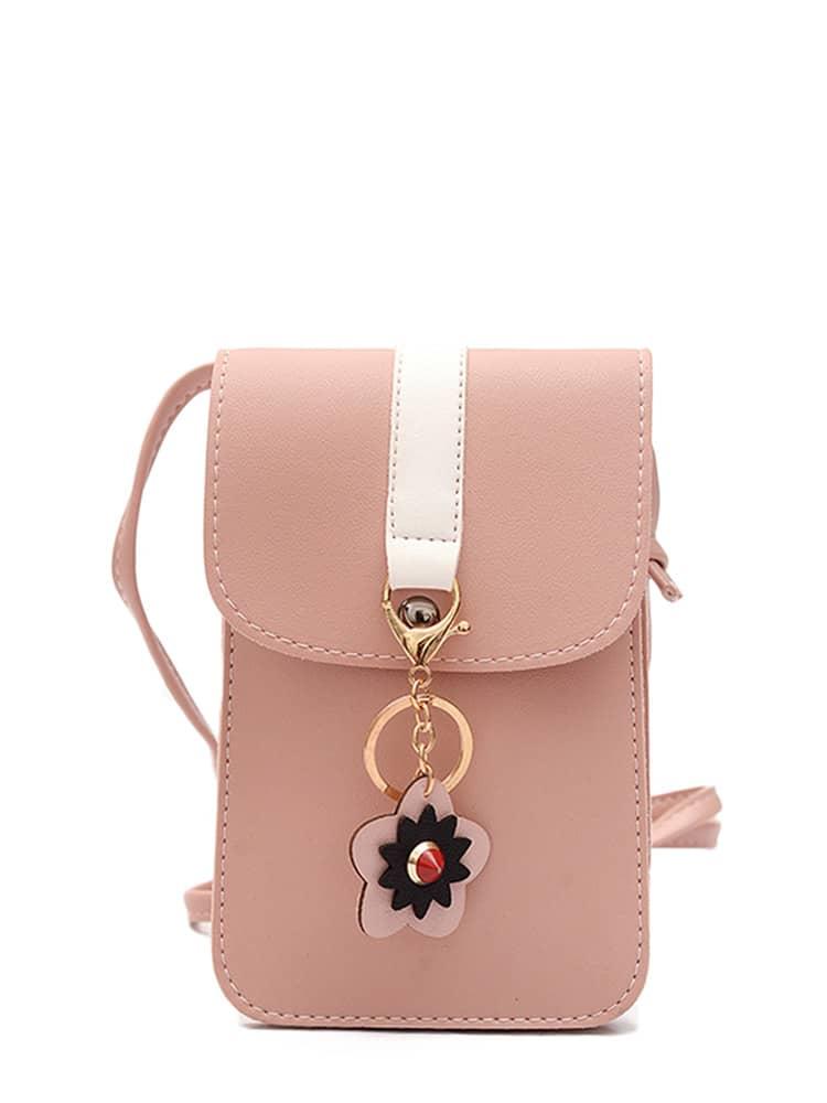 Flower Keychain Detail PU Pouch Bag