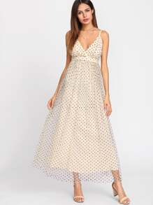 Mesh Overlay Polka Dot Flowy Cami Dress