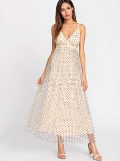Mesh Overlay Polka Dot Flowy Cami Dress