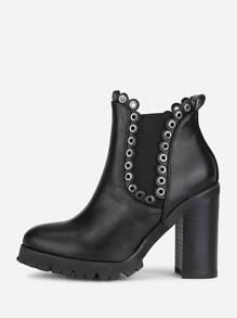 Grommet Detail Block Heeled Boots
