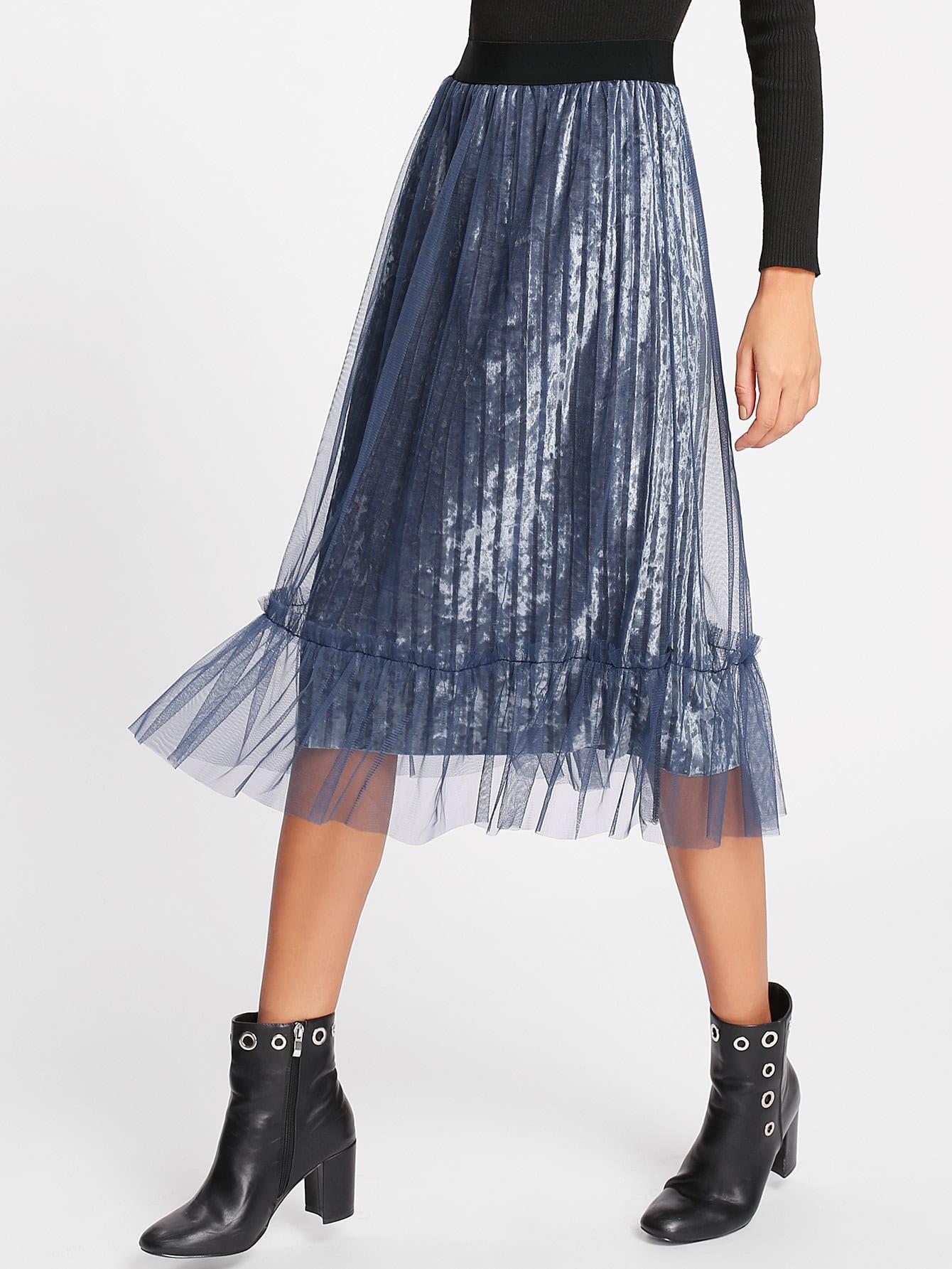 Ruffle Hem Mesh Overlay Velvet Skirt