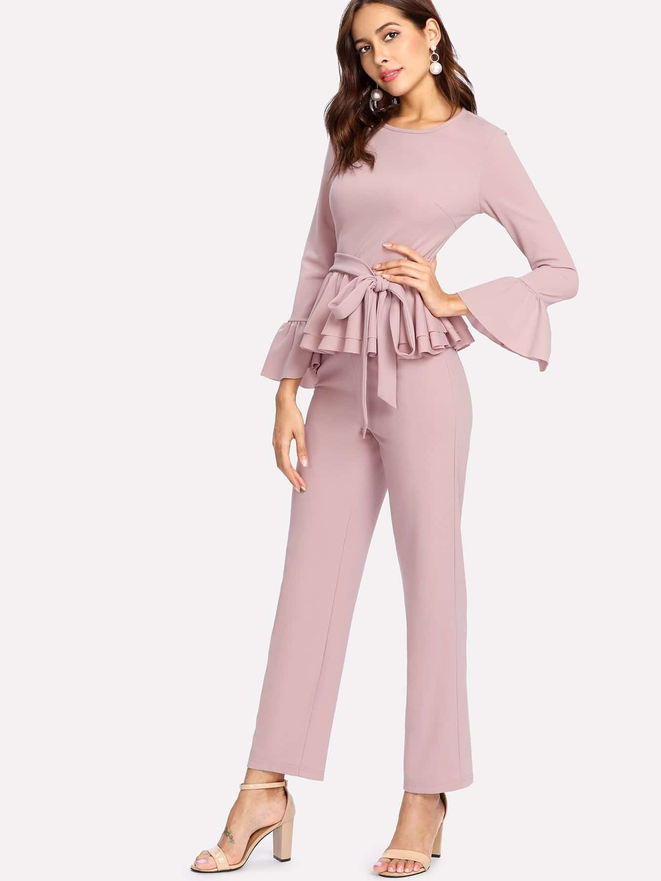 Flounce Cuff And Hem Self Belted Top & Pants Set flounce hem belted pinstripe cami dress